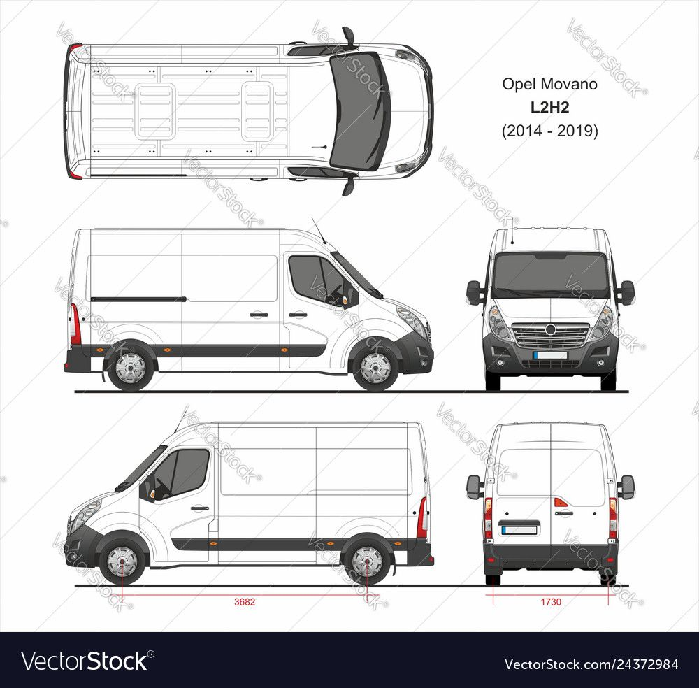 Opel Movano Cargo Delivery Van L2h2 2014 2019 Vector Image On Renault Master Vans Cargo