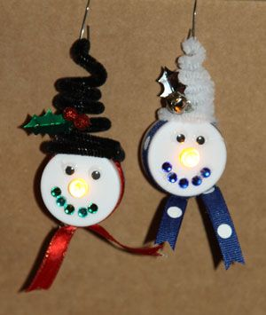 Tealight Snowman With Ear Muffs Holiday Craft Instructions