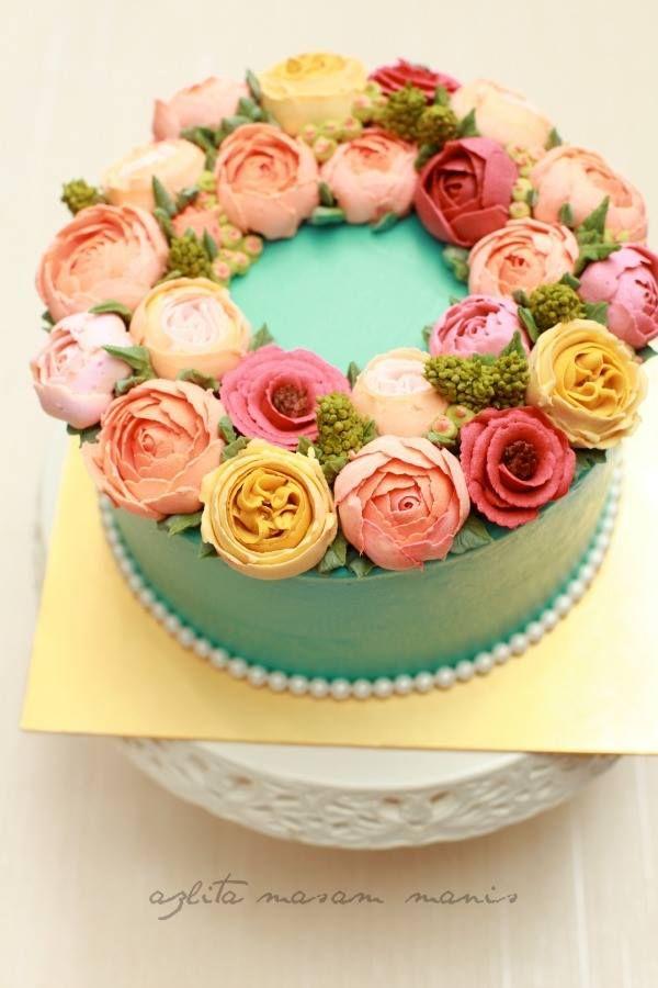 Korean Flower Buttercream Kue Bunga Kue Cantik Kue Ulang Tahun