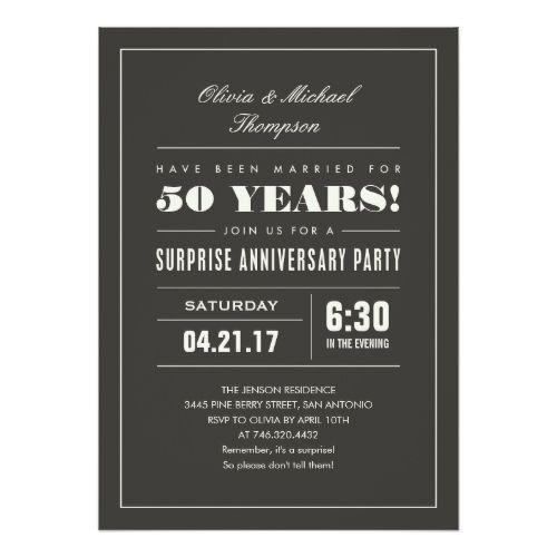 surprise anniversary party invitations big type 25th wedding