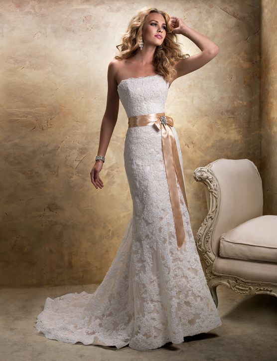 21 Gorgeous Wedding Dresses From 100 To 1 000 Strapless Lace Wedding Dress Wedding Dresses Ivory Lace Wedding Dress