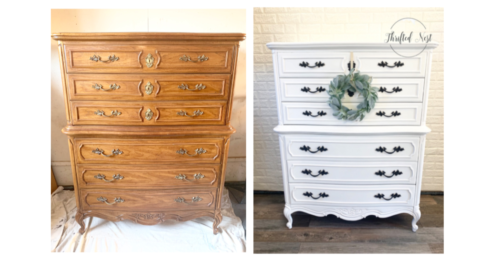 DIY White Painted Dresser | How to Paint Furniture White - Thrifted Nest #spraypainting