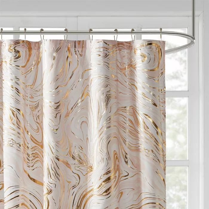Vanessa Printed Marble Metallic Shower Curtain In 2020 Gold Bathroom Decor Gold Shower Curtain Modern Shower Curtains