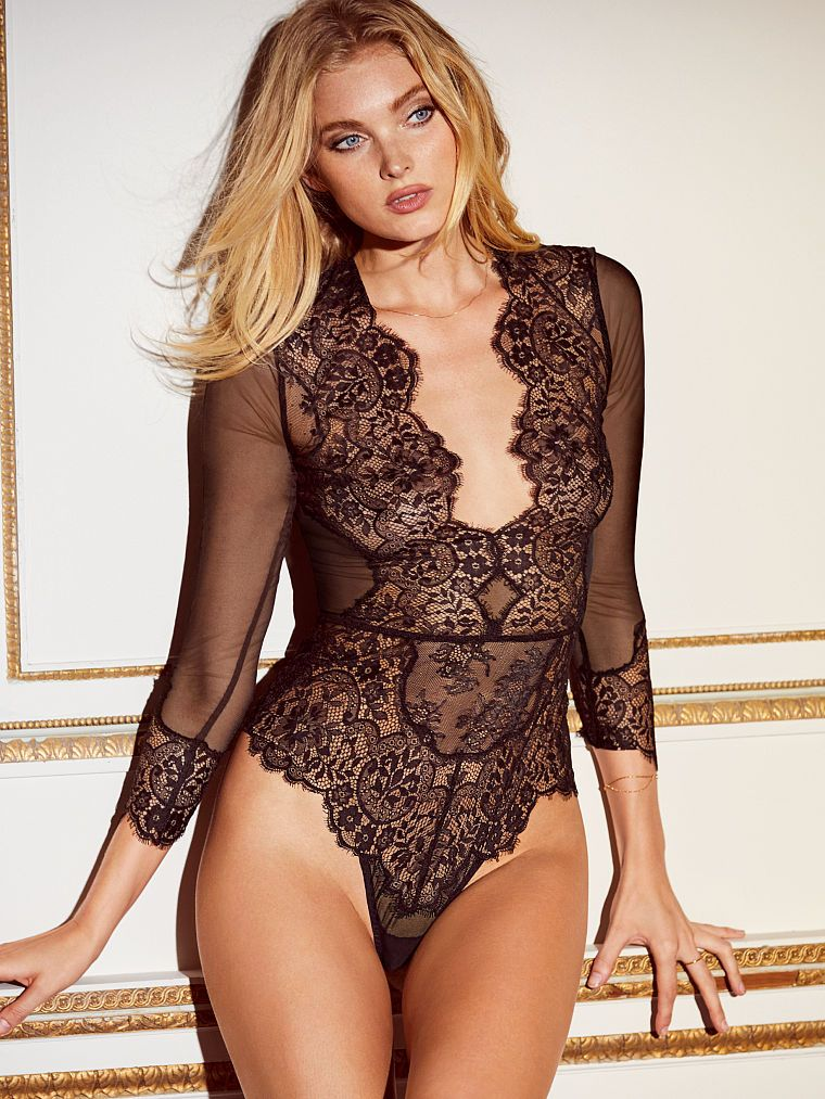 7394cc5d93 Elsa Hosk - Long-sleeve Plunge Teddy - Beautiful by Victoria s Secret - Victoria s  Secret