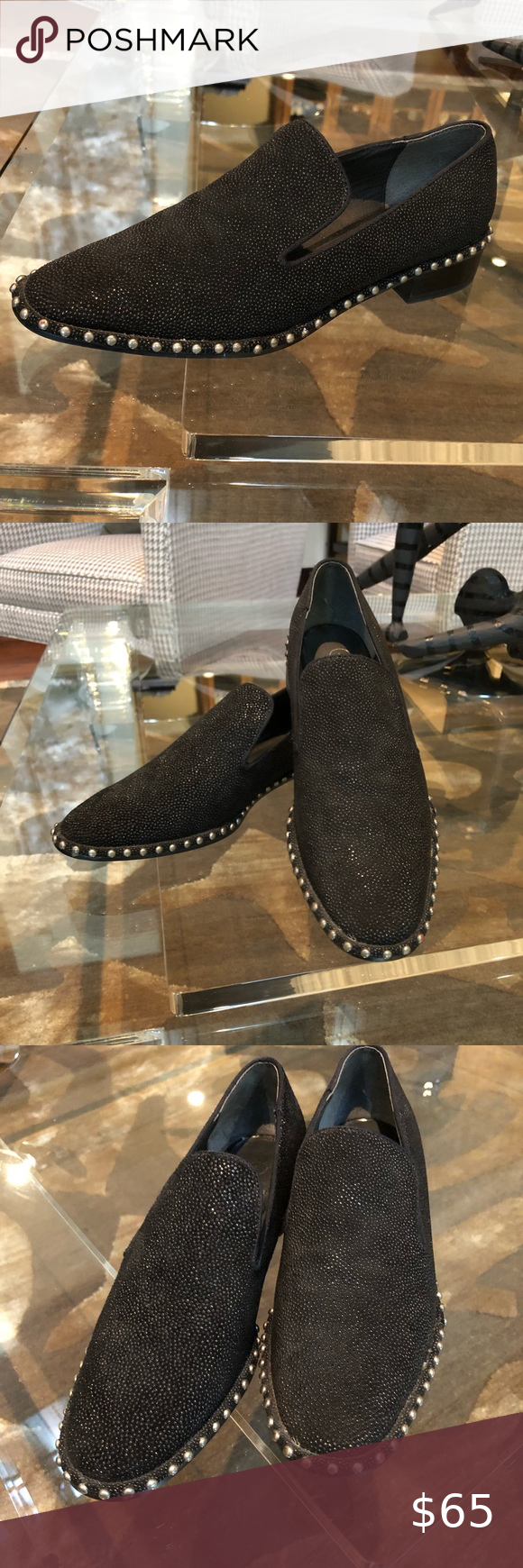 Adrianna Pappel Black Beaded And Studded Loafers Studded Loafers Loafers Black Loafers [ 1740 x 580 Pixel ]