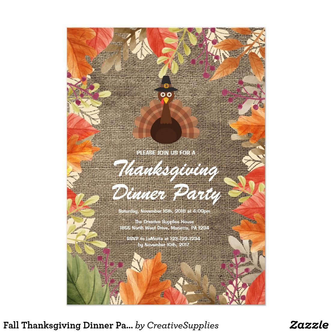 Fall Thanksgiving Dinner Party Invitation