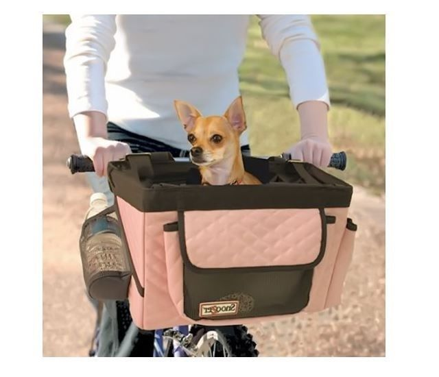 Pet Bike Carrier Bicycle Basket Tote Car Travel Basket Portable Dog Cat Folds…