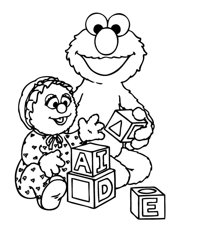 Elmo Was Playing A Funny Box Coloring Page