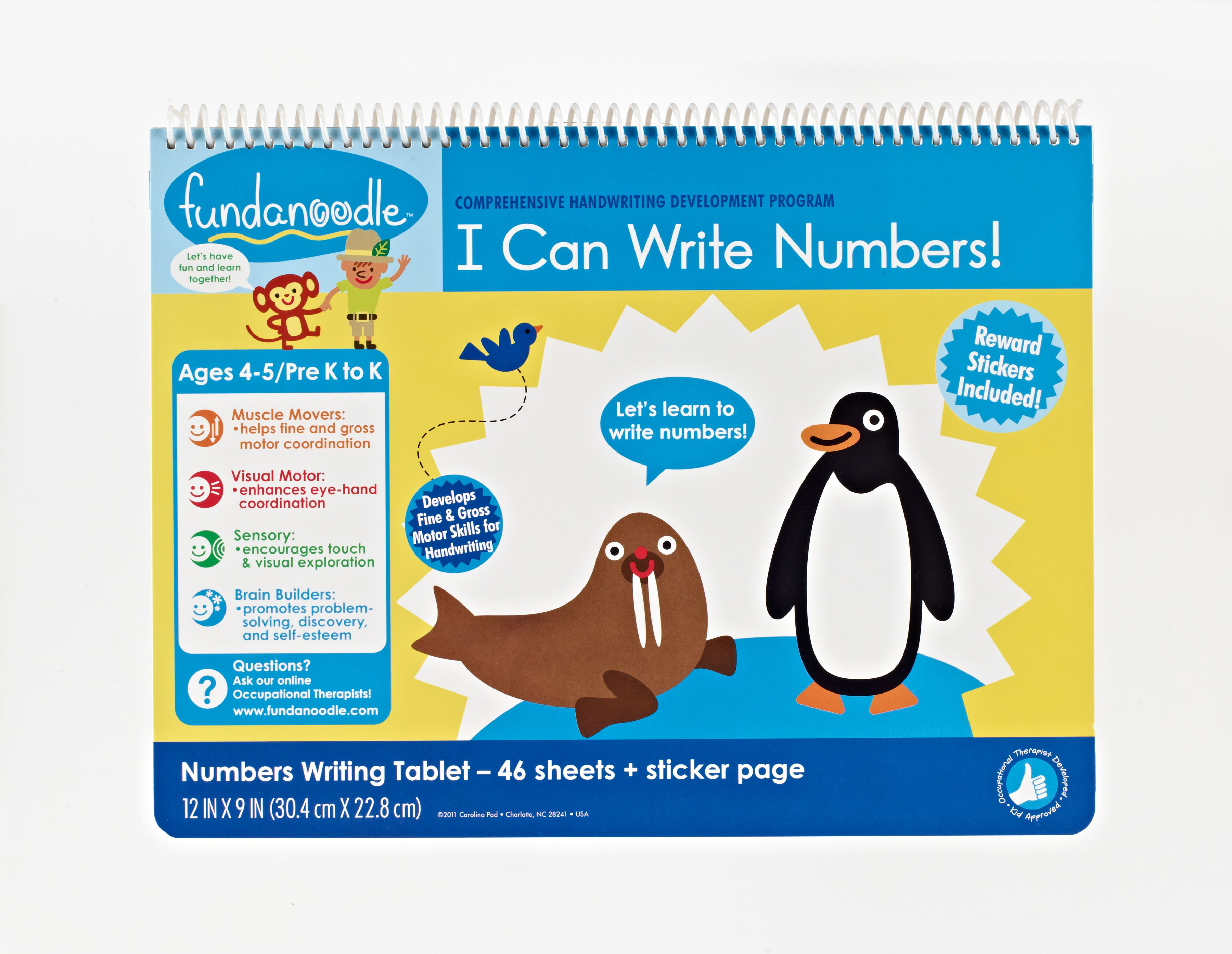 Fundanoodle By Carolina Pad I Can Write Numbers Writing Tablet Pre