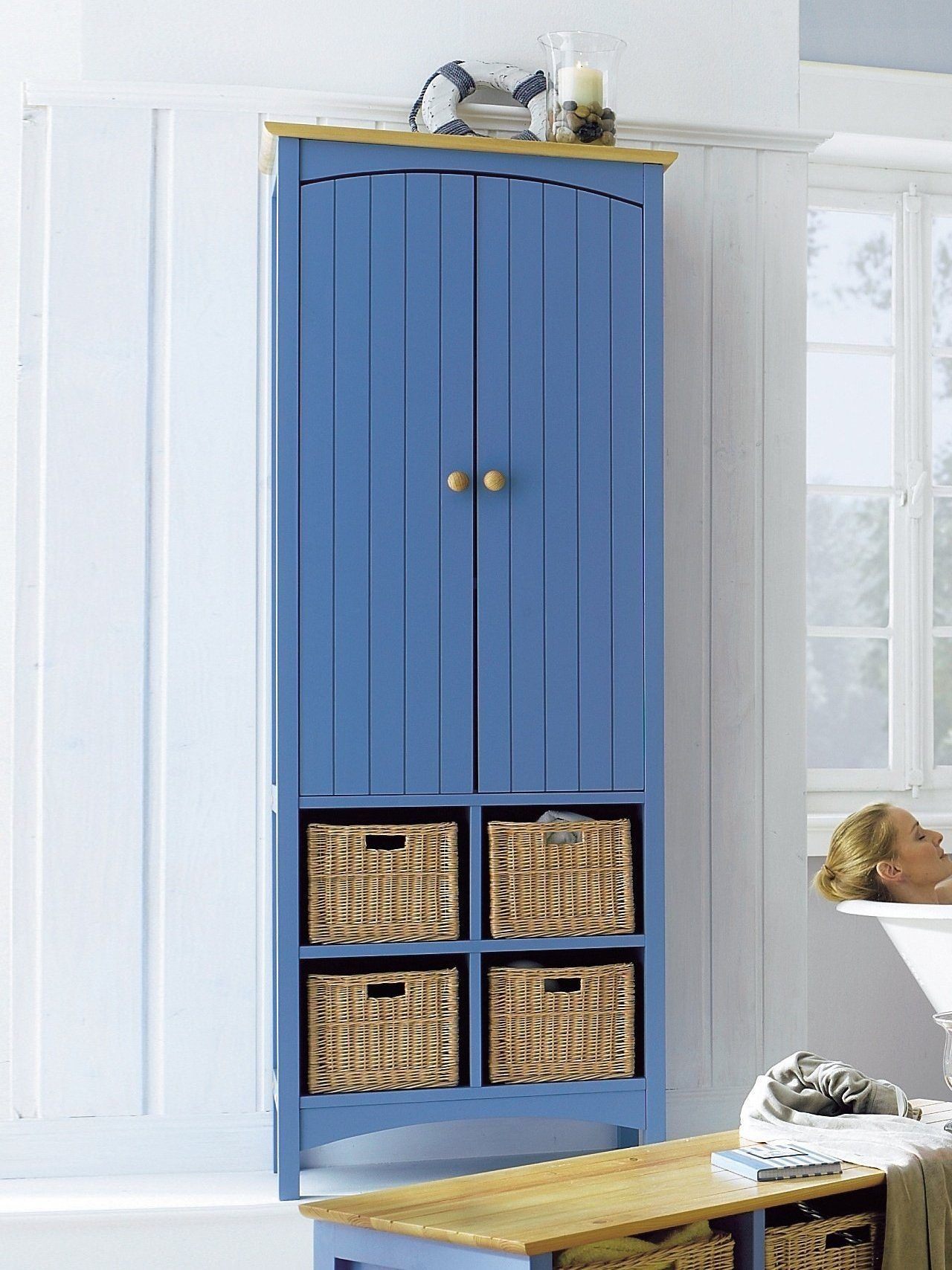 Hochschrank blau, 2 Türen, 4 offene Fächer, heine home