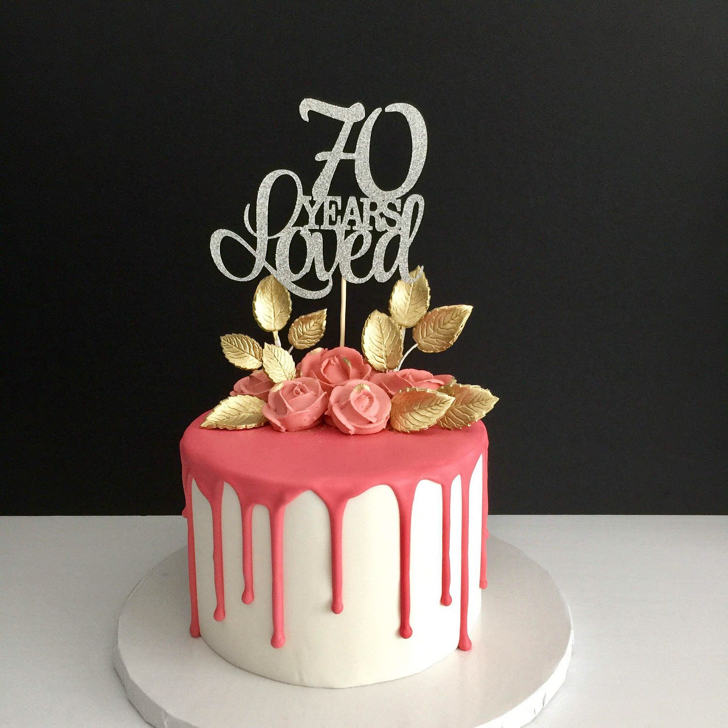 70 Years Loved Cake Topper 70th Birthday Happy Anniversary