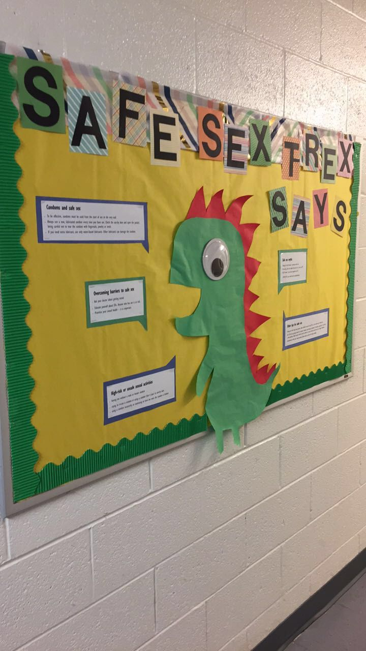 RA Safe sex t-rex bulletin board #rabulletinboards