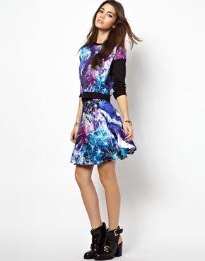 My print for Beta Fashion on asos.com Textile Federation Skater Skirt In Dandelion Dream Print