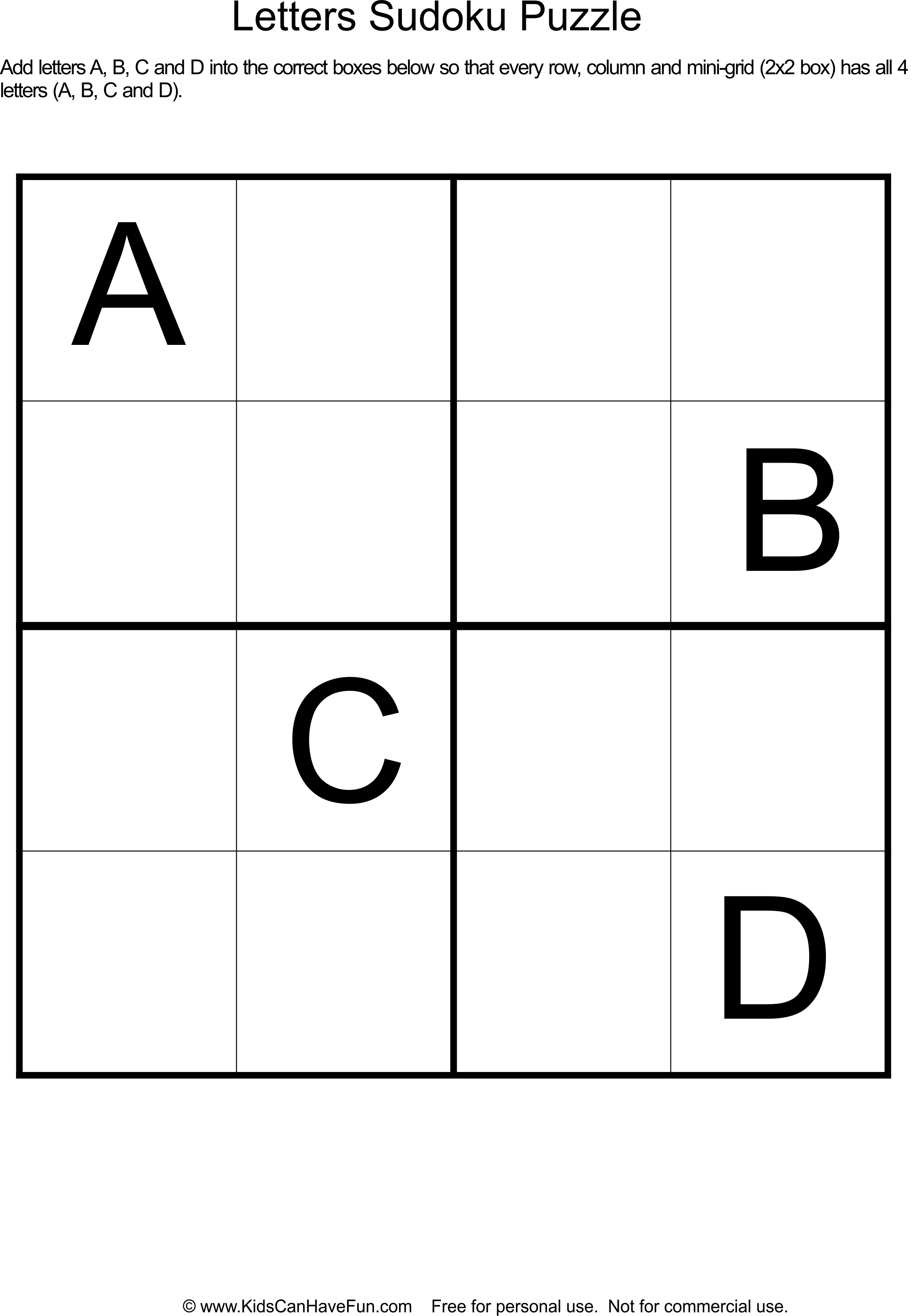 Sudoku Letters Puzzle For Kids Dscanhavefun