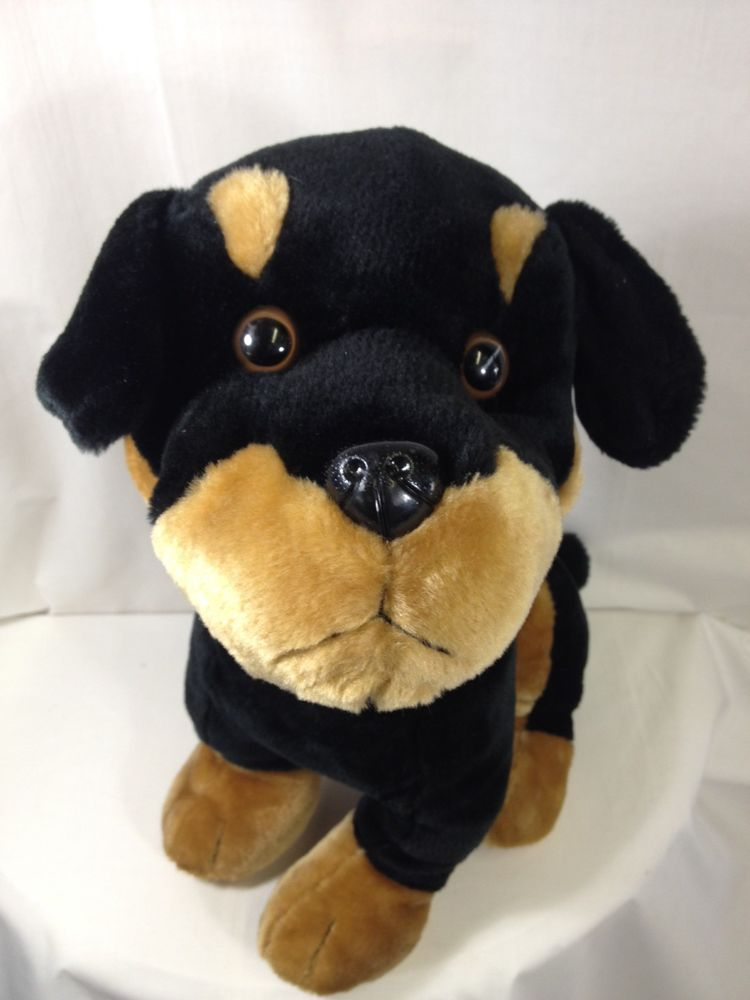 Rottweiler Dog Spiked Collar Plush Stuffed Animal Black Brown