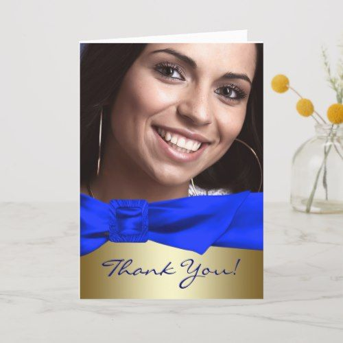 Photo of Royal Blue Gold Photo Quinceanera Thank You Cards | Zazzle.com