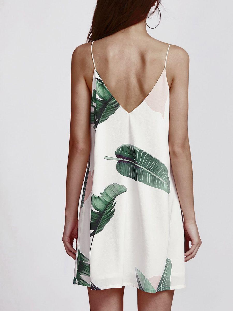 912bbba135e3 Palm Leaf Print Double V Neck Cami Dress -SheIn(Sheinside) Shift Dresses,