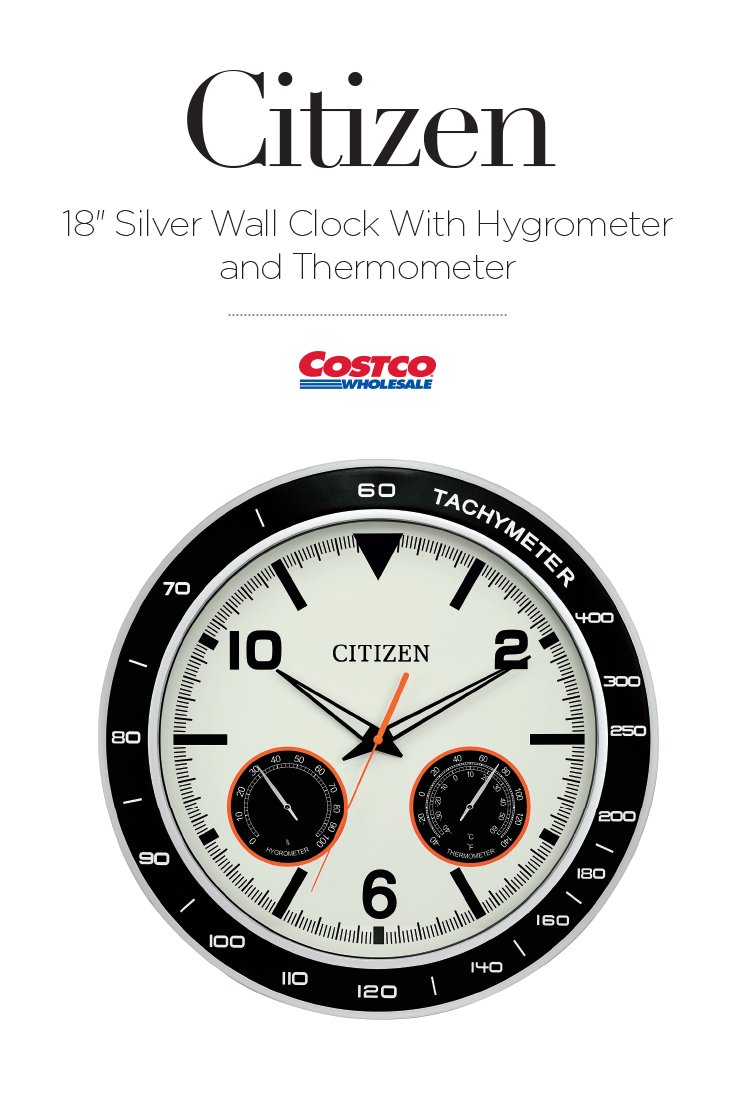 Add Bold Style To Any Office Room Or Covered Outdoor Space With This Citizen 18 Silver Frame Wall Clock With Ivory Dia Silver Wall Clock Frames On Wall Clock