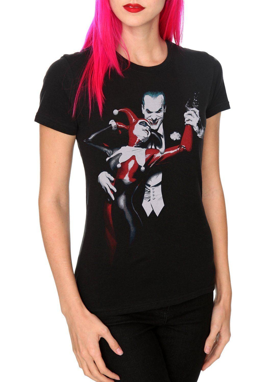 ceaaf671 Amazon.com: DC Comics Batman Harley Quinn And Joker Girls T-Shirt Plus Size  3XL: Clothing
