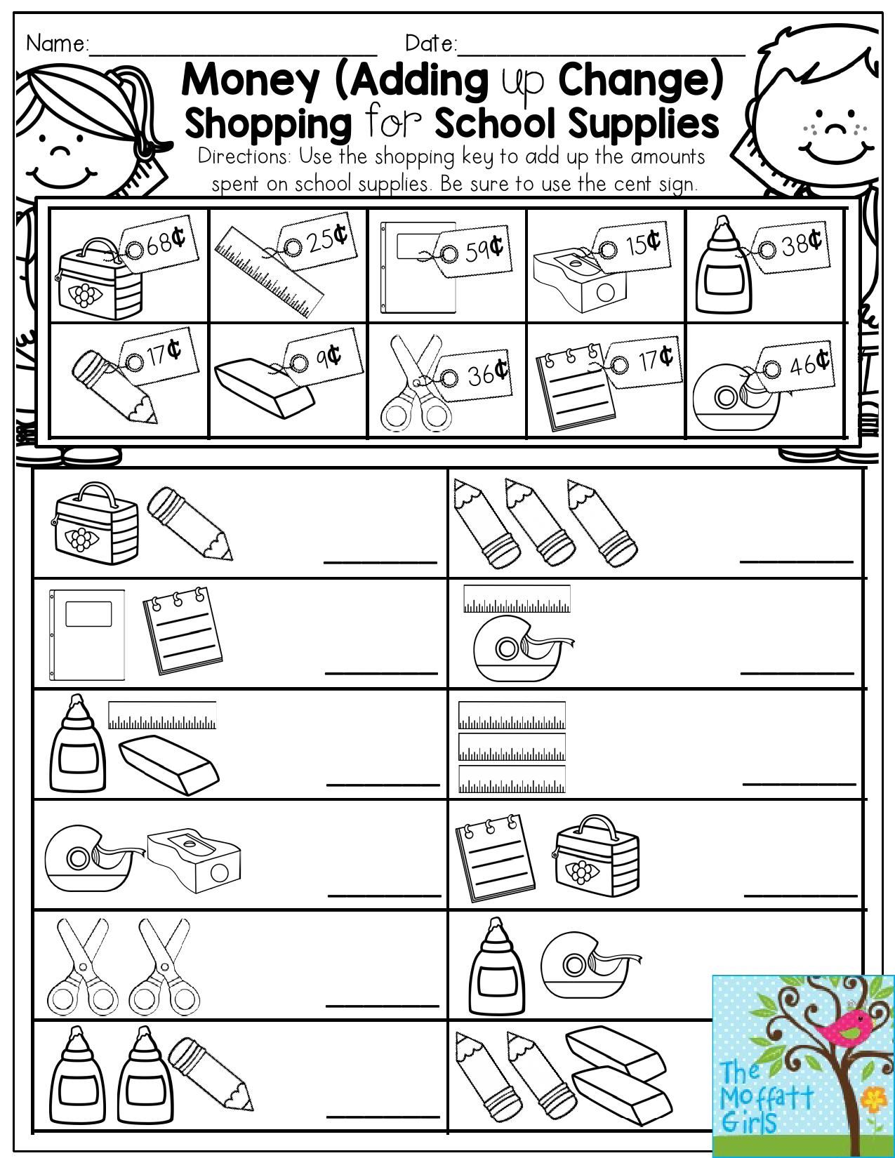 Make Money Worksheets : Money adding up change shopping for school supplies