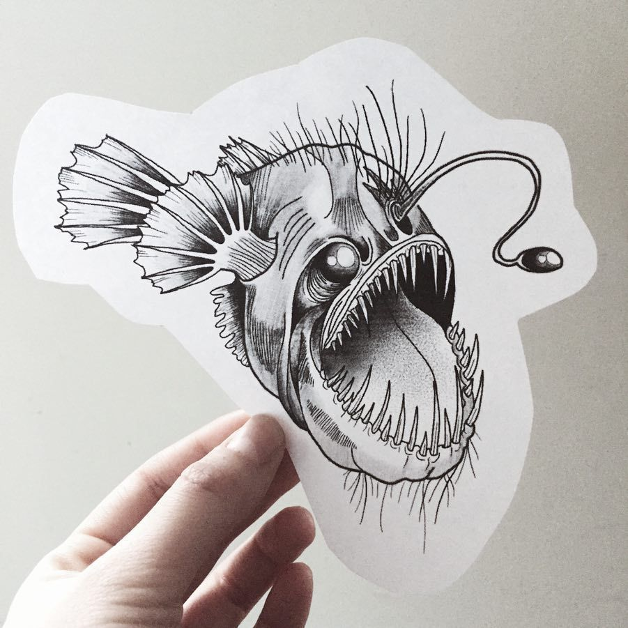 This Angler Fish Is Up For Grabs Repost From Justinecho Tattooapprentice Tattoodesign Flash Angler Fish Sketch Fish Drawings Tattoo Design Drawings