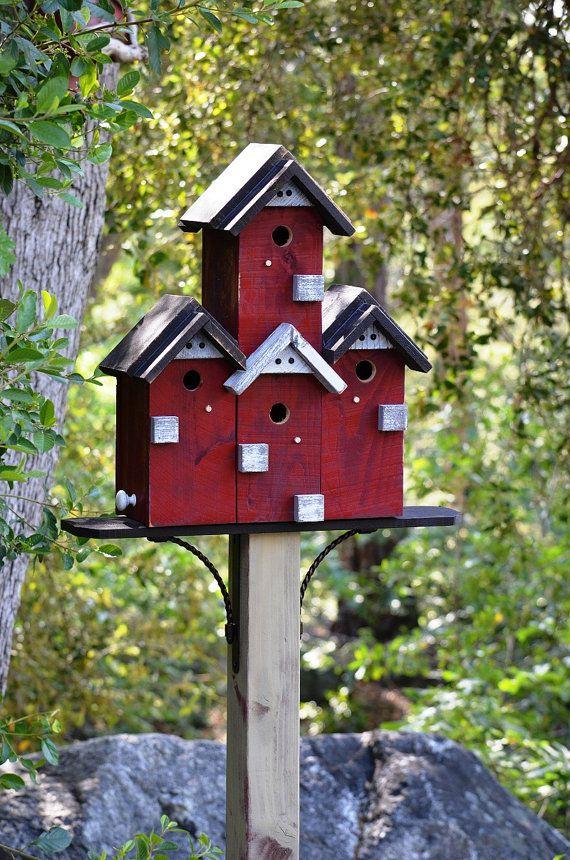 Birdhouse Condo Bird House Post Mount Custom Built Large