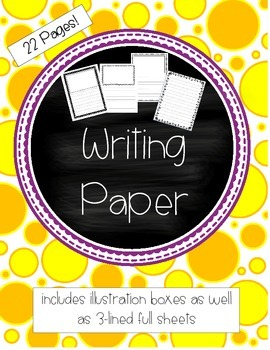 Writing Paper - Illustration boxes as well as 3-lined full sheets ...