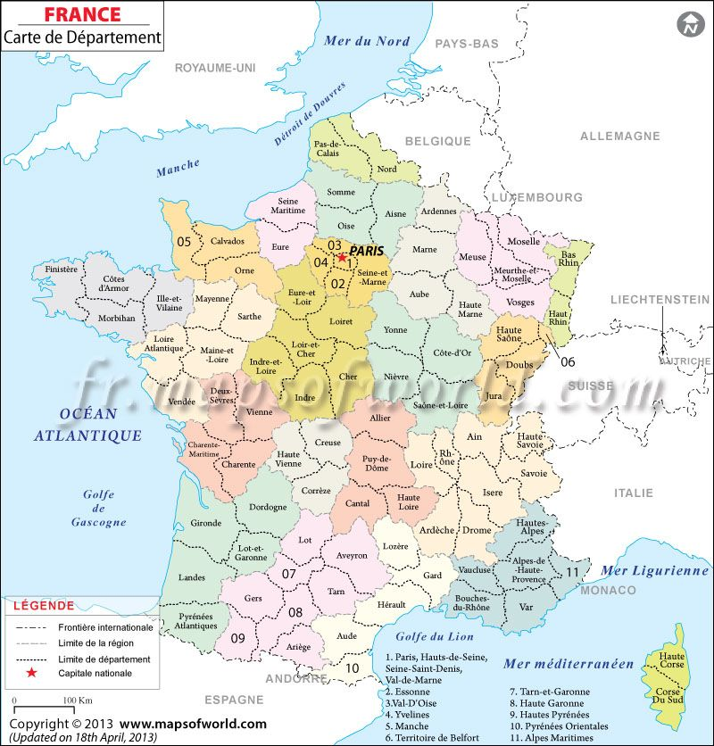 Info les departements francais sur map monde for B b carte france