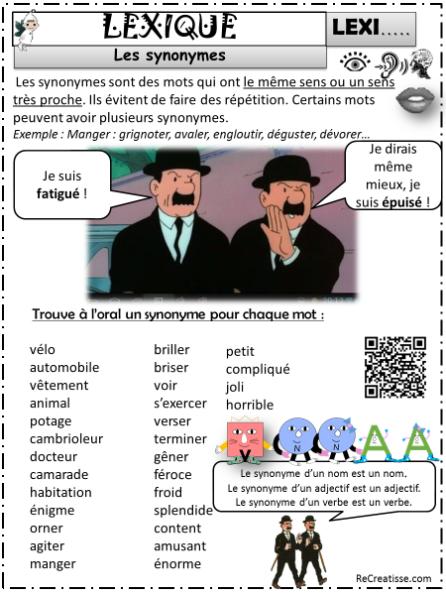 LEXIQUE : Les SYNONYMES - CE1 / CE2 | Ce1 ce2, Ce1, Ce2