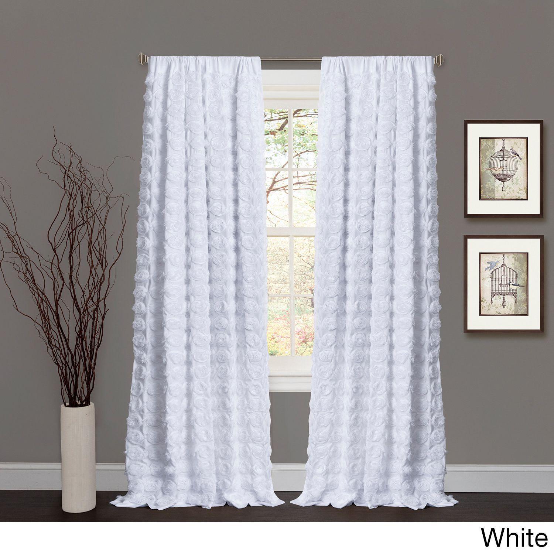 Lush Decor Emma Rosette 84 Inch Curtain Panel White
