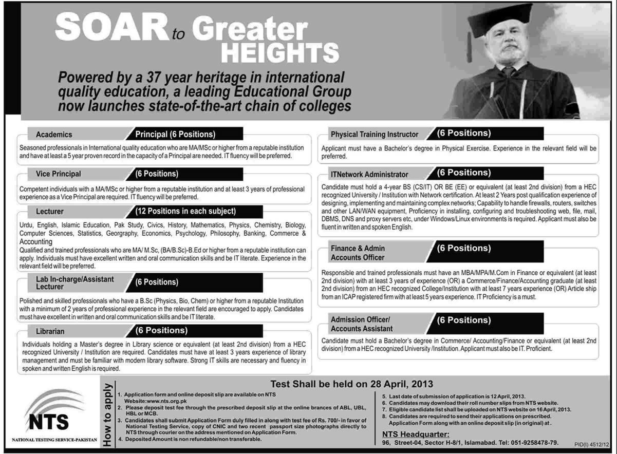 nts jobs Jobs in pakistan, Education, Job