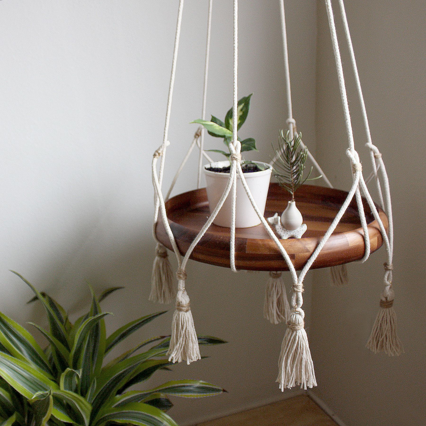 Hanging Table/Plant Holder With Tassels