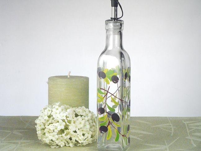 Europa Collection Medium Oil Bottle With Olives Design Italian Wedding FavorsItalian