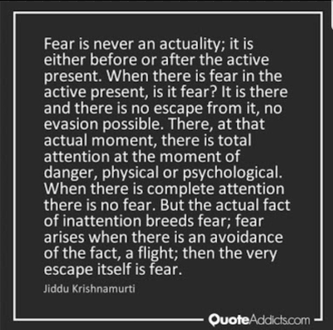 On Fear By Jiddu Krishnamurti