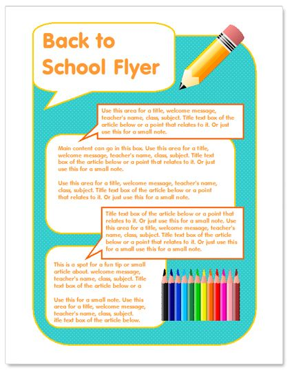 Back to school flyer templateworddrawbackto – Free Template for Flyers Microsoft Word