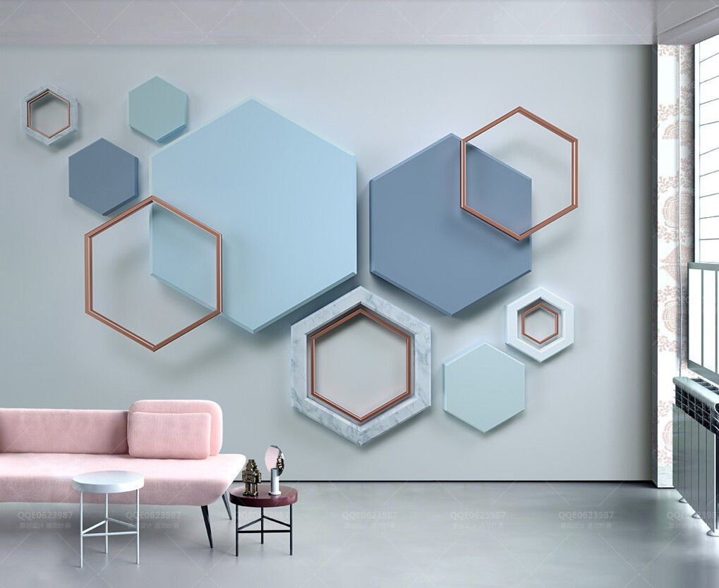 Wall Murals 3d Wallpaper Blue Nordic Solid Geometry Hexagon Stitching Tv Background Wall 3d Wall Mural Living Wall Murals Home Wallpaper Wall Decor Living Room