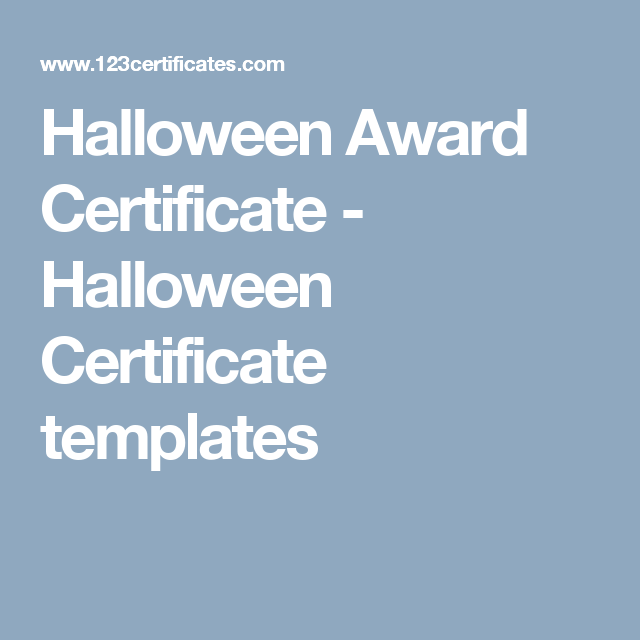 Halloween Award Certificate Halloween Certificate Templates