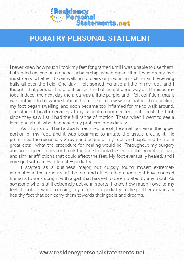 Get A Podiatry Personal Statement For 2019 2020 Residency Personal Statement Podiatry Statement