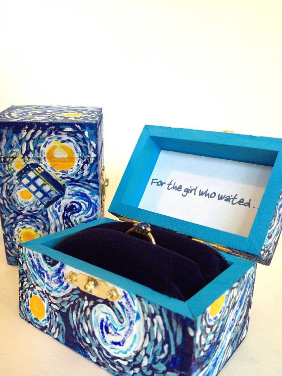 dr who wedding package starry night ring box by belmouridadesign - Dr Who Wedding Ring