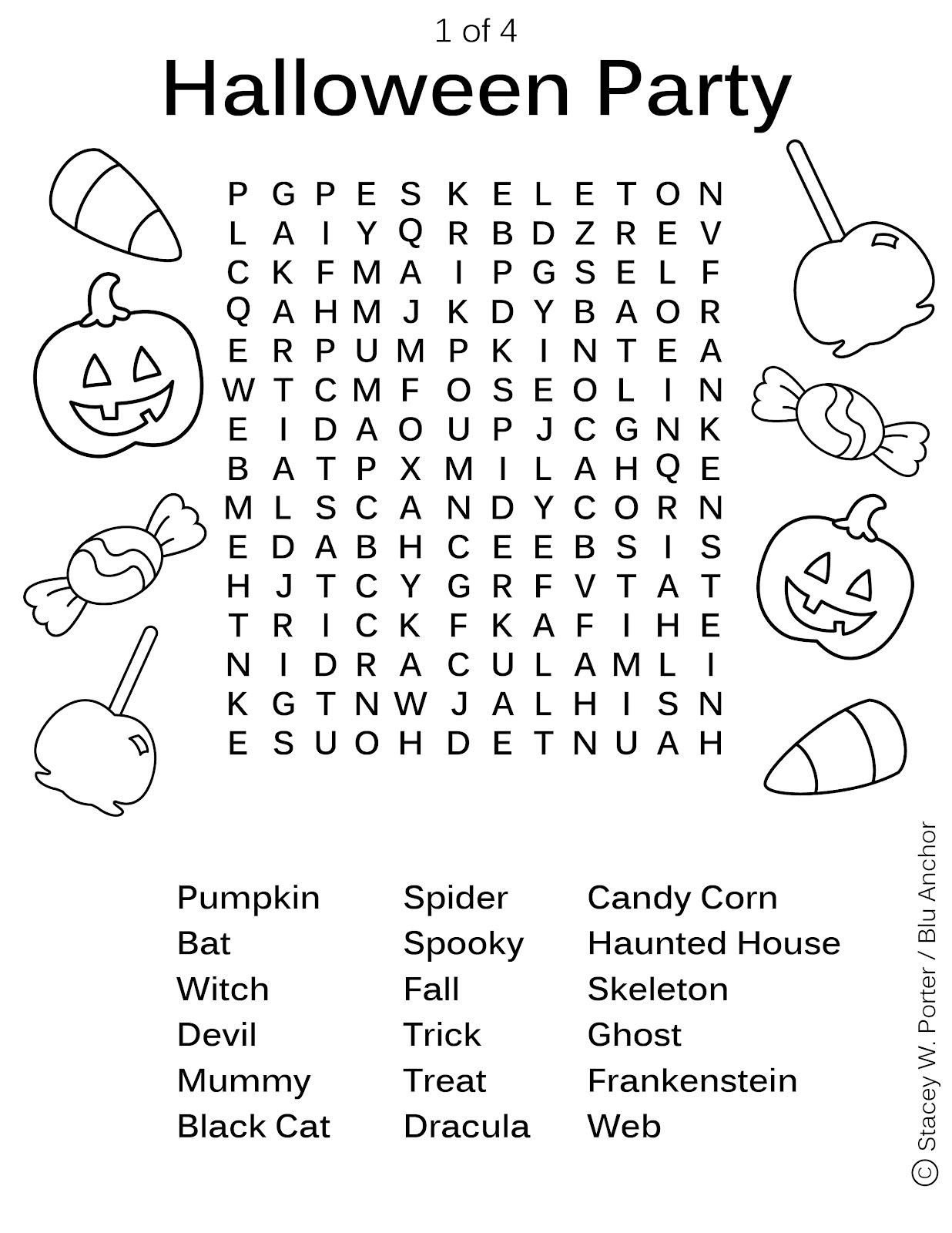 the art of stacey w. porter -- free download of halloween word find