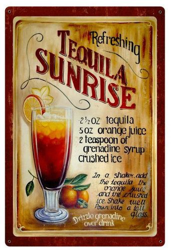 Wine Bar Cafe Pub Hotel Tequila Sunrise Cocktail Recipe Small Metal Tin Sign
