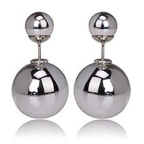 Designer Double-faced .925 Sterling Silver Ball & Stud Earring- Silver/Silver