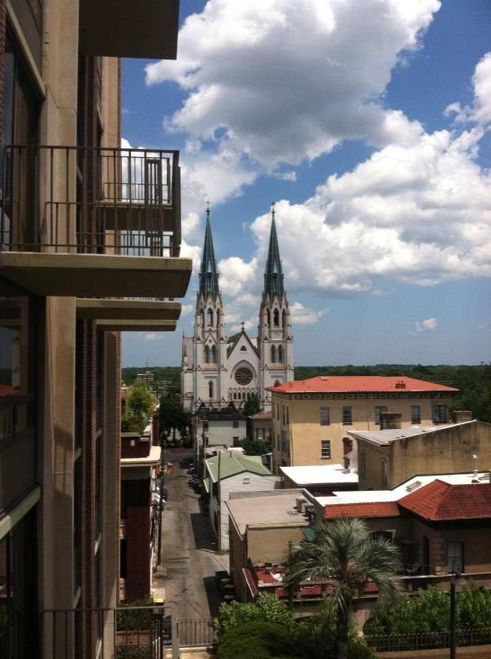 View of Savannah and cathedral from balcony of The Hilton