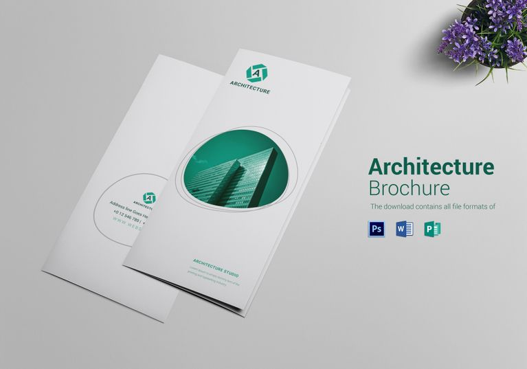 Commercial Architecture Tri Fold Brochure Template  Formats