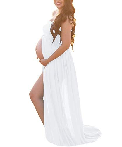 Photo of White Maternity Off Shoulder Tube Chiffon Gown Split Front Strapless Maxi Pregnancy Photography Dress for Photo Shoot and Baby Shower