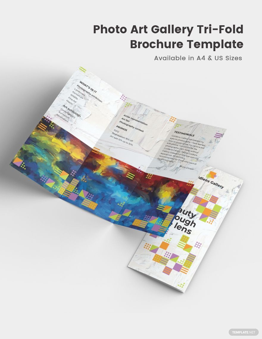 Photo Art Gallery TriFold Brochure Template in 2020