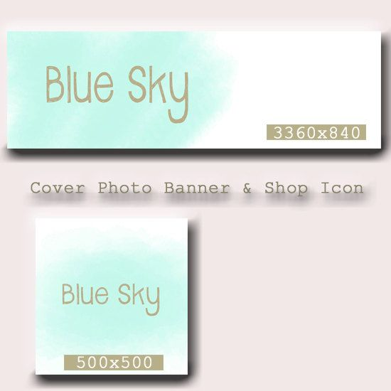 Etsy Cover Photo Design = Etsy Shop Icon - Etsy Cover Banner - Premade Shop Banner -Watercolor Banner - Blue Etsy Banner- Premade Design