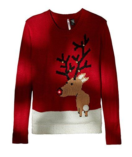 Love By Design Womens Reindeer Light Up Nose Christmas Sweater At