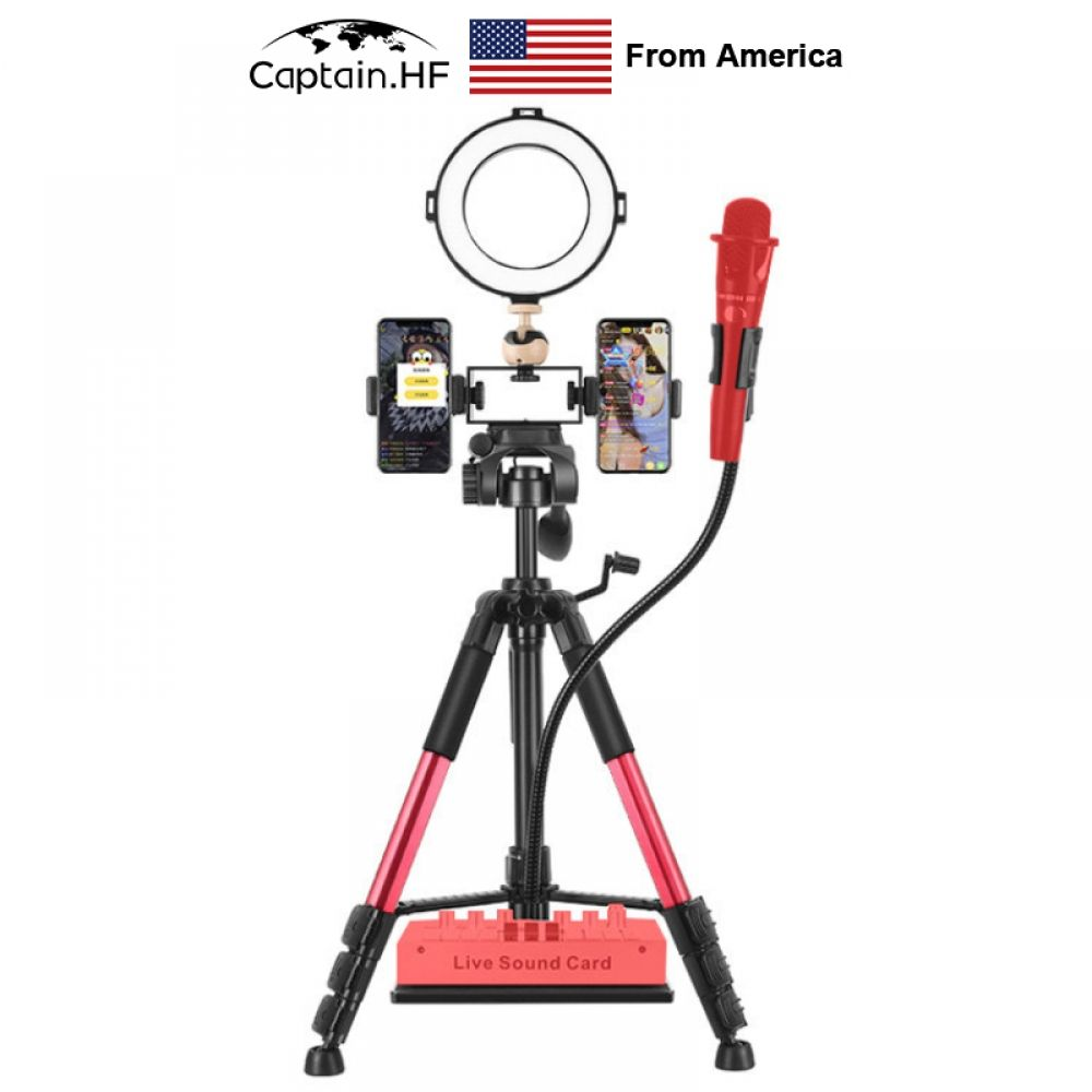 Us Captain Tripod Selfie Live Video Led Ring Light Portable Tripod Photography Dimmable Rin In 2020 Led Ring Light Led Ring Phone Holder