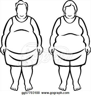 Morbidly Obese Over 100 Pounds Overweight Clipart Drawing Gg57703188